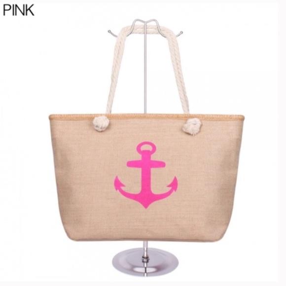 Handbags - Pink Canvas Anchor Tote Beach Bag NEW